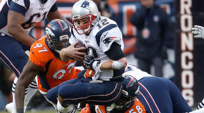 The Broncos defense left its mark on Patriots quarterback Tom Brady on Sunday.